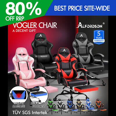 ALFORDSON Gaming Chair Office Executive Racing Footrest Seat PU Leather Multiple
