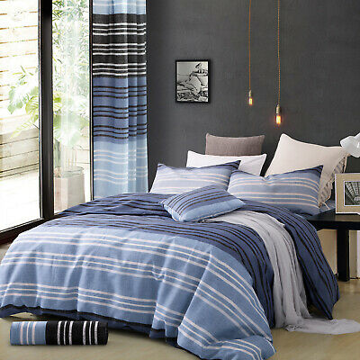 New 3 Piece Stripe Quilt Cover With Pillow Case Timber King Size Duvet Cover Set
