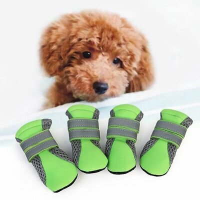 4x Waterproof Dog Boots Anti-Slip Sole Feet Cover Paw Protect Cute Shoes Strap