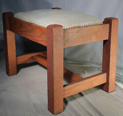 Antique Arts Crafts Mission Oak Foot Stool Mortised ORIGINAL Surface NICE 1925