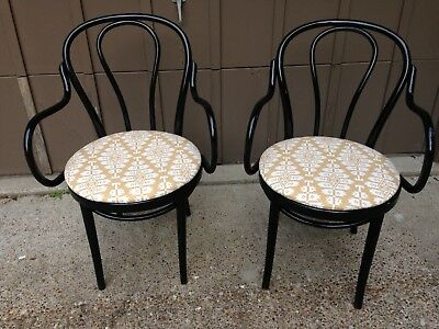 Bentwood Arm Chair PAIR Updated Black Mid Century