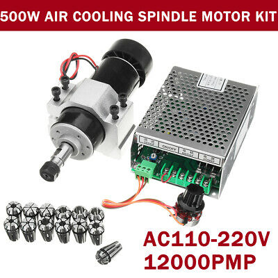 500W Air Cooling Spindle Motor + 52mm Clamps + Speed Governor ER11 For Engraving