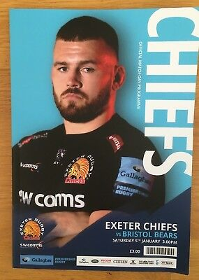 EXETER CHIEFS  V  BRISTOL BEARS  5/1/19 PREMIERSHIP RUGBY  PROGRAMME  Mint
