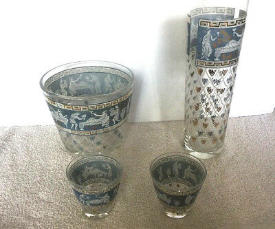BLUE CORINTHIAN Jeanette Glass Bar Set Pitcher Ice Bucket Low Ball Glass Greek