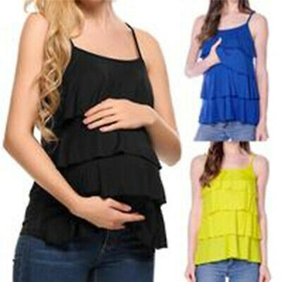 Women Breastfeeding Top Maternity T-shirt Nursing Ruffle Polyester Soft 8C