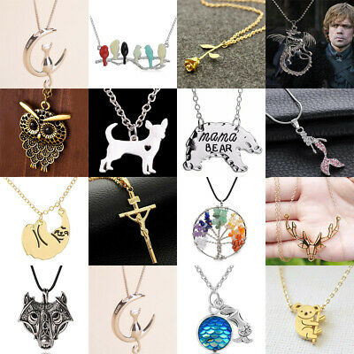 Fashion Chain Necklace For Women Choker Necklace Cute Pendants Charms Silver
