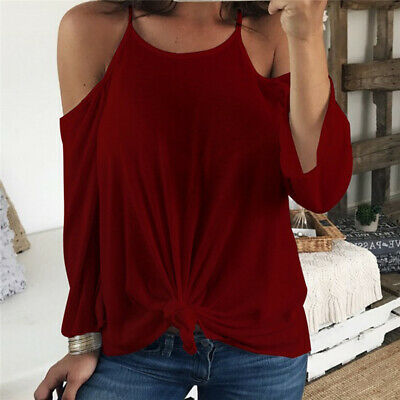 Women Cold Shoulder Loose Shirts Lady Strappy Blouse Backless Sling Tops 8C