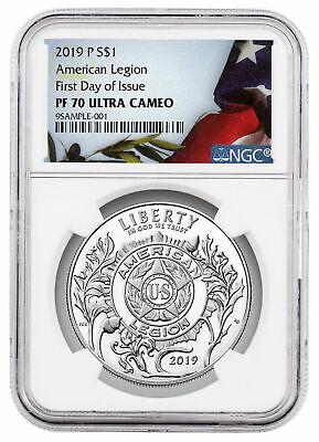 2019 P American Legion 100th Silver Dollar NGC PF70 UC FDI Liberty Flag SKU57816