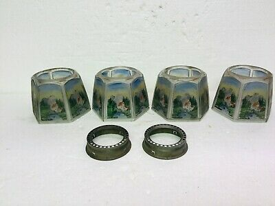 Set 4 Antique Light Lamp Shades Krakno Glass Etched Painted Landscape & Mill Gas