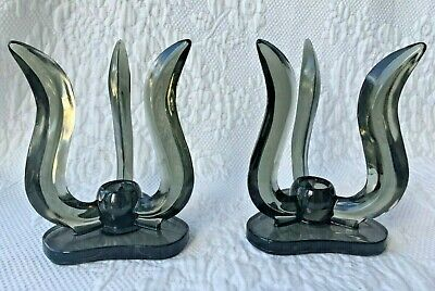 Rare New Martinsville Epic Viking Candle Holders 1959-1961 Charcoal Triple Flame