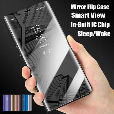 For Samsung S7 S6 Note9 S8 S9 Plus Mirror Flip Case Cover With Built  In Chip