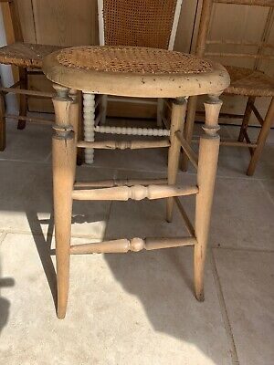 Antique Antique Pine Stool Seat Cane Top Bath Bed Room Chic