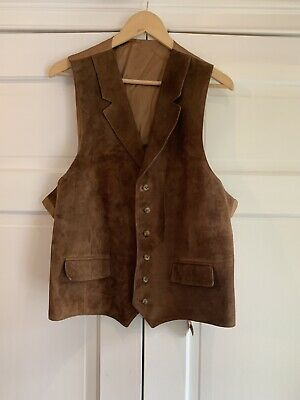 Vintage Brooks Brothers Buttery Suede Leather Brown Vest 2 Pocket Men's XL EUC