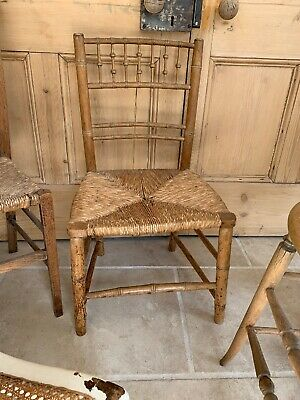 Antique Bamboo Rush Seat Chair Country Interiors Vintage Chic