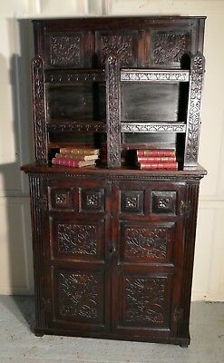 Antique Housekeepers Oak Bookshelf Cupboard