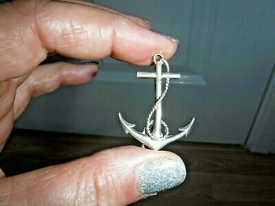 Vintage Sterling Silver Anchor Pin Brooch ~ Excellent