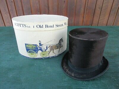 """Antique Black Beaver TOP HAT with a 22"""" Circumference Inside Rim"""