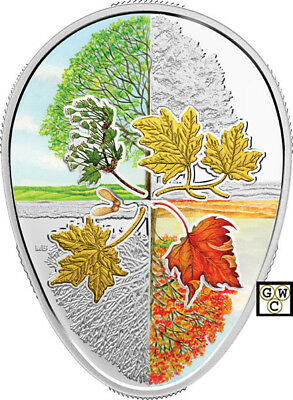 2018'Four Seasons of the Maple Leaf' Color Proof $20 Fine Silver 1oz Coin(18571)