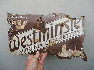 An Antique Enamel Westminster Cigarettes Advertising Sign c1910/20 A/F