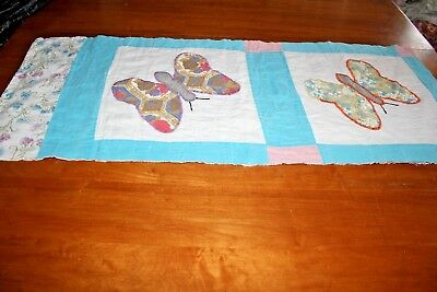 Vintage Cutter Quilt Piece Butterfly Applique Pillow or Craft Project Piece #4