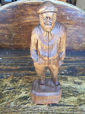 "Vtg Wood Carving Caron Quebec Canada 8"" Tall Man Hand Carved Folk Outsider Art"