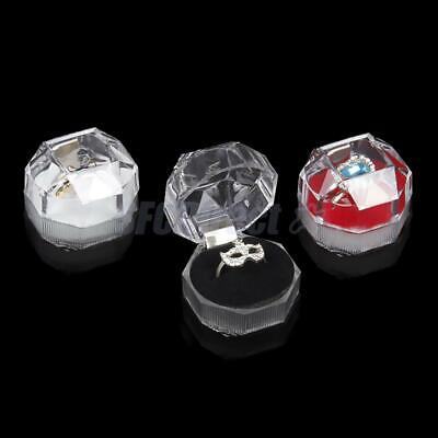20Pcs Clear Acrylic Crystal Ring Box Earring Storage Display Jewelry Case Holder