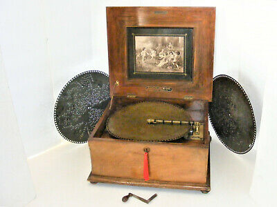 "Antique Disc Playing Music Box By ""Polython""  Plus Six- 15.3/4"" Discs, See Video"