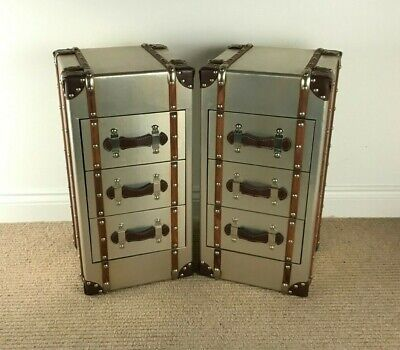 PAIR of Slimline Retro Industrial Vintage  AVIATOR BESIDE CABINETS / Side Chests