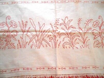 Antique Red Work Hand Embroidery Czech Dresser Table Runner Poppy Pussy Willow