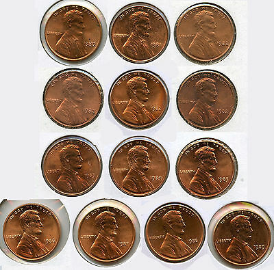 1980 - 1989 Lincoln Memorial Cent Penny Set - Coin Collection Philadelphia AG273