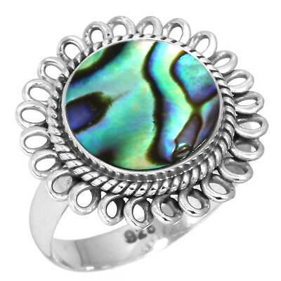 Natural Abalone Shell Ring 925 Sterling Silver Handmade Jewelry Size 8 aV51585