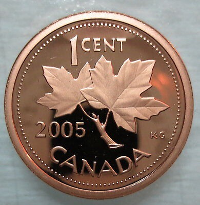 2005 Canada 1 Cent Proof Penny Heavy Cameo Coin