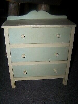 """Antique Vintage 13 """" Tall Childs Doll Chest Of Drawers Wood Furniture"""