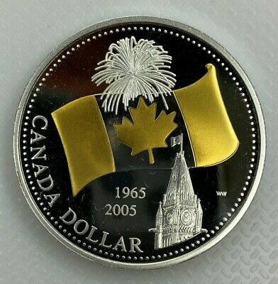 2005 CANADA 40th ANNIVERSARY OF CANADIAN FLAG PROOF SILVER DOLLAR COIN