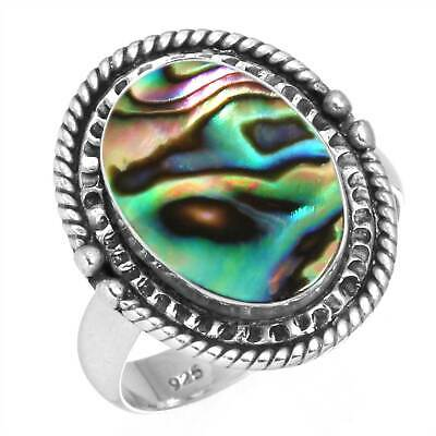 Natural Abalone Shell Ring 925 Sterling Silver Handmade Jewelry Size 6.5 MU91110