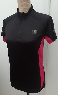 Karrimor Run Ladies Size 12 Black Pink Fitness Top Gym Sports Wear Jog Run
