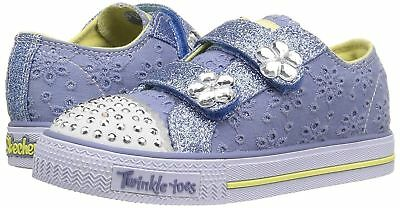 Skechers Twinkle Toes Shuffles Petal Pop Blue  Light Up Trainer Flashing Shoe 6