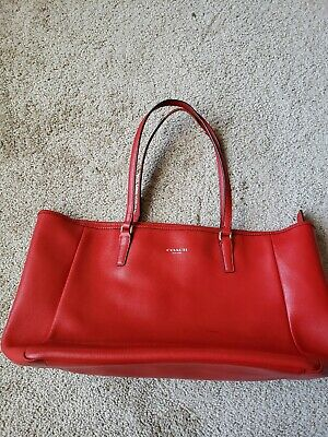*COACH*Red Leather Large Tote Handbag Purse