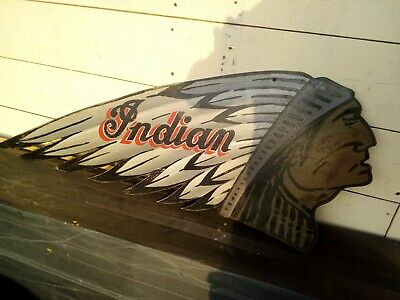 Indian motorcycle sign 1901 garage BSA Norton Ariel shell oil pratts chief AJS