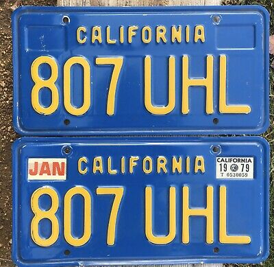 California License Plates 807 UHL 1970-1980 Year Of Manufacture DMV Clear Set