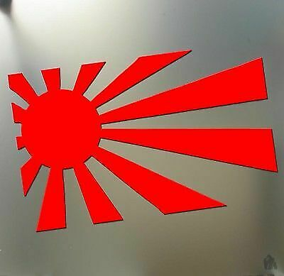 "Red 7"" Rising sun japan funny sticker racing JDM car Honda flag window decal"