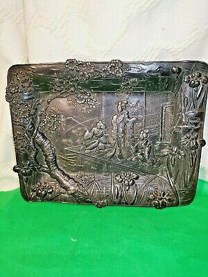 Antique Early 20th Chinese/Japanese  Spelter Geisha Wall Plaque in Relief
