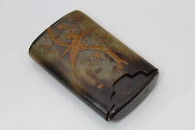 Late 19th/ Early 20th C Japanese Buffalo Horn Case Lacquer Cigar Cheroot Holder