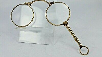 Gold gilded metal lorgnettes good working order marked double