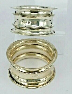 1907 Edwardian pair of waisted Silver napkin rings not engraved
