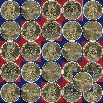 2016 P D Native American Sacagawea Dollar Mint Cello BU Roll 26 US Coin Lot