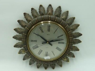 Vintage Smiths Sectric Sun Wall Clock - Brass