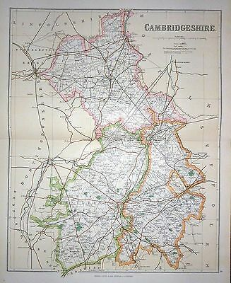 1901 Large Victorian County Map ~ Cambridgeshire ~ Chesterton Newmarket Wisbeach