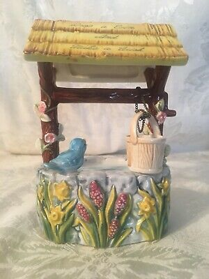 Beautiful Vtg Wishing Well Bank With Blue Bird