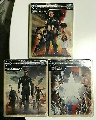 Captain America Trilogy 4K UHD Blu-Ray Digital HD Steelbook Avenger Winter Civil